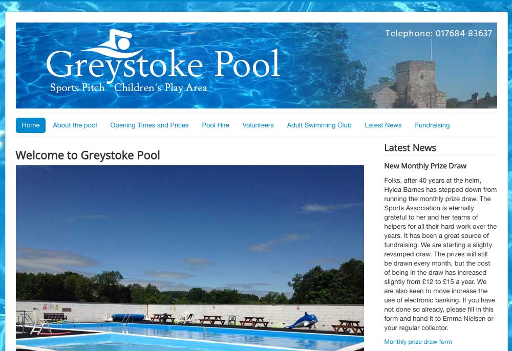 Website design - Greystoke Pool