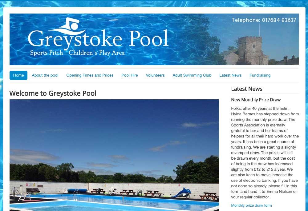 Website design - Greystoke Pool