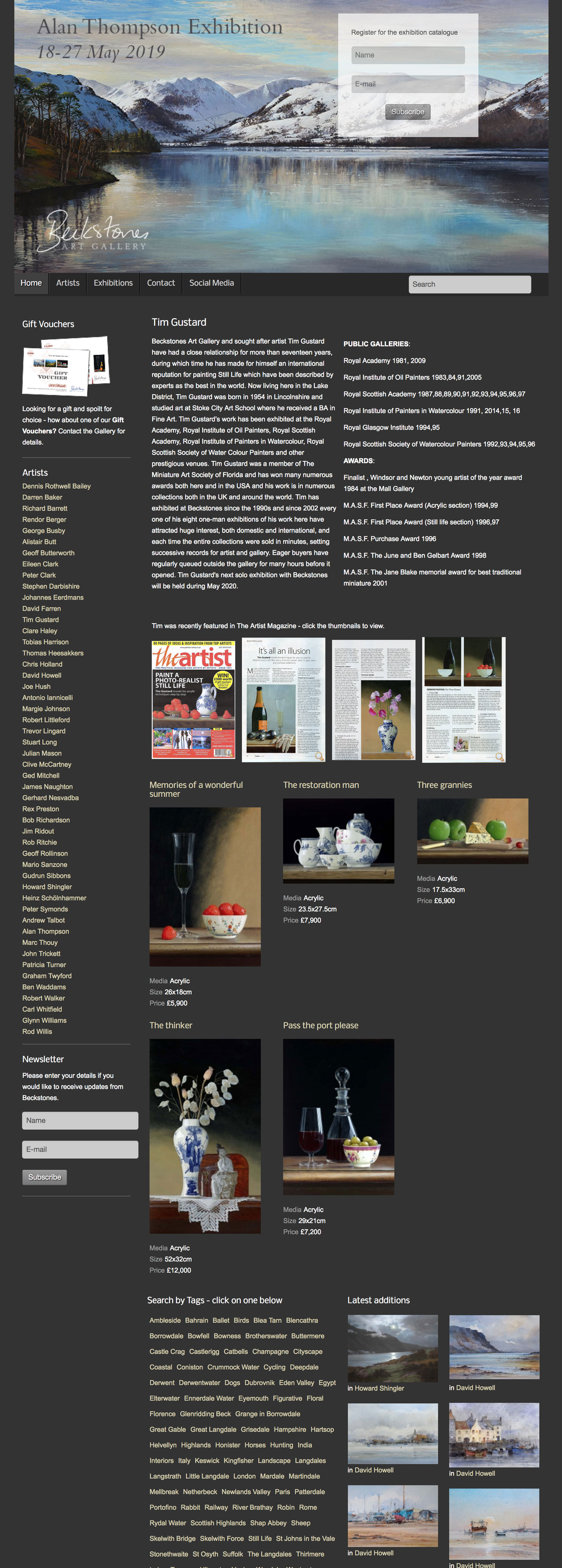 website design Beckstones artist page