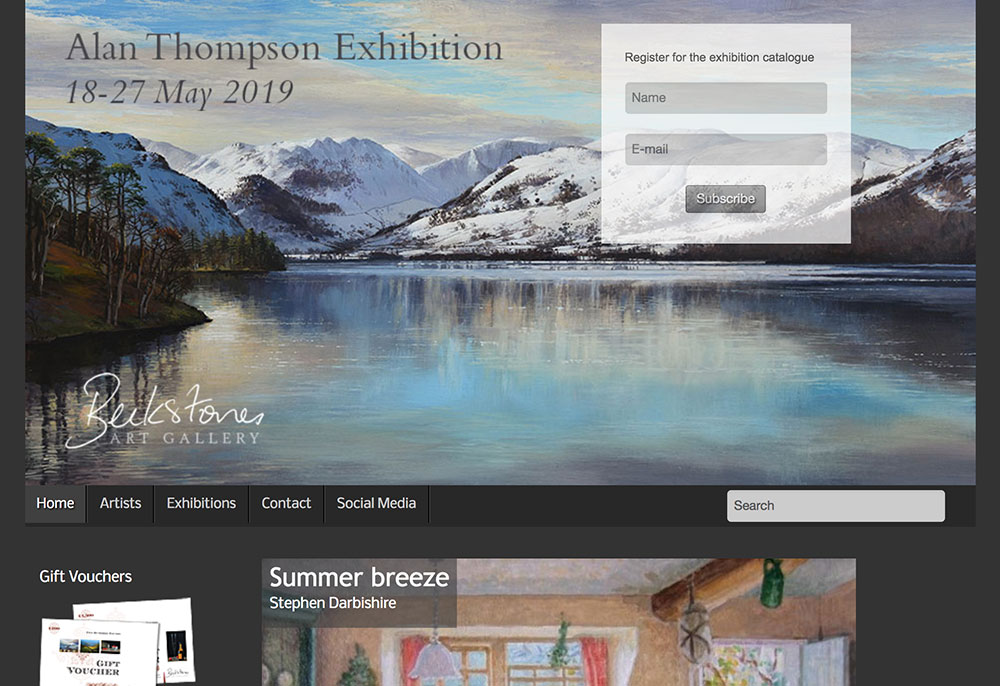 website design Beckstones Art Gallery