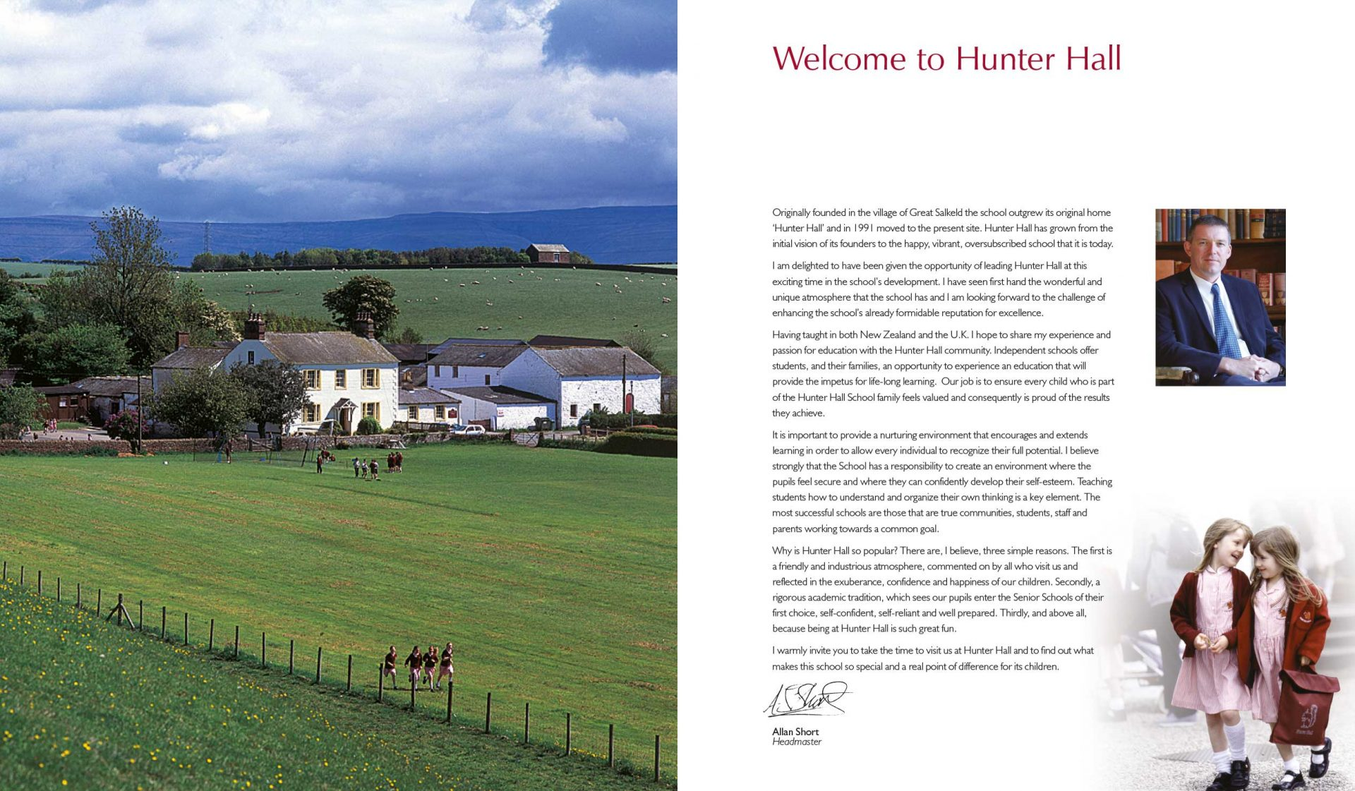 School Prospectus design - Hunter Hall - inside front cover