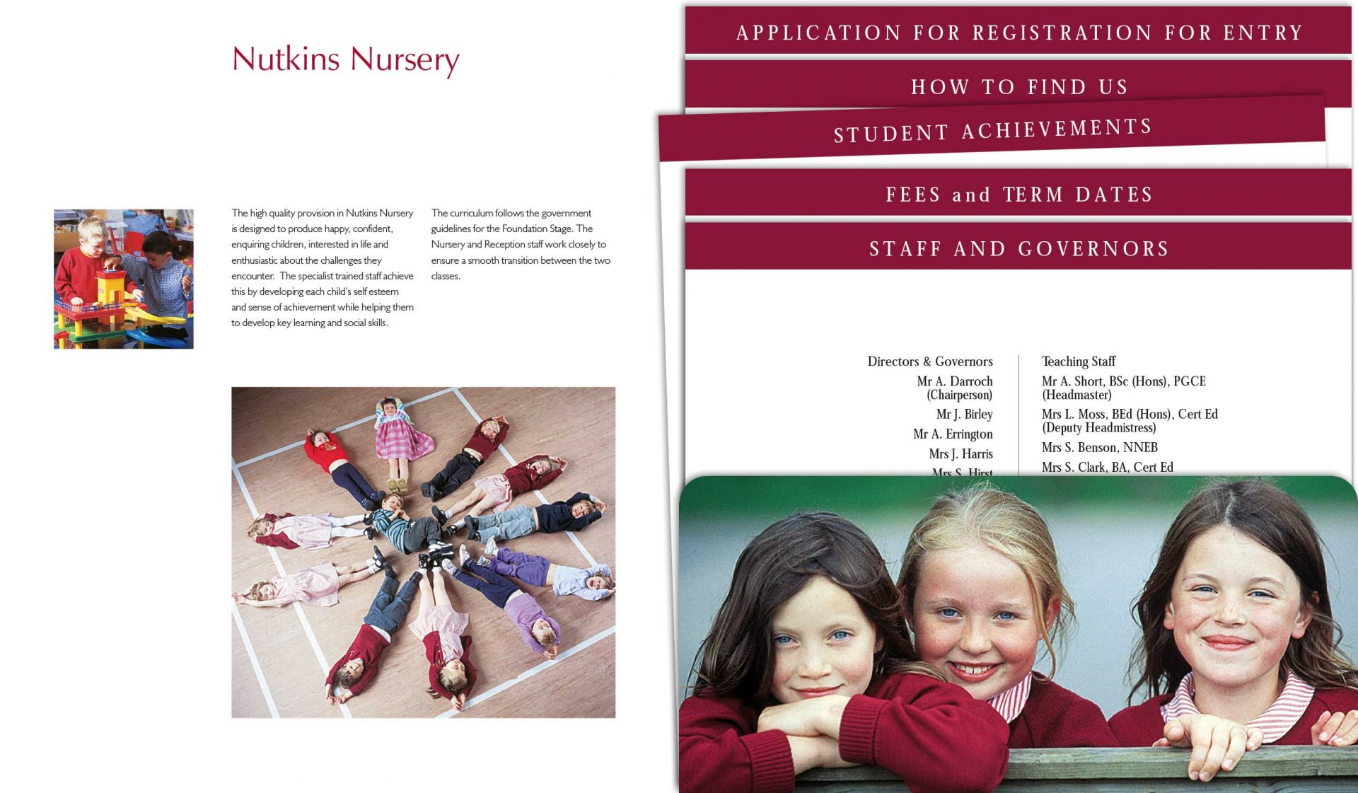 School Prospectus design - Hunter Hall - inserts
