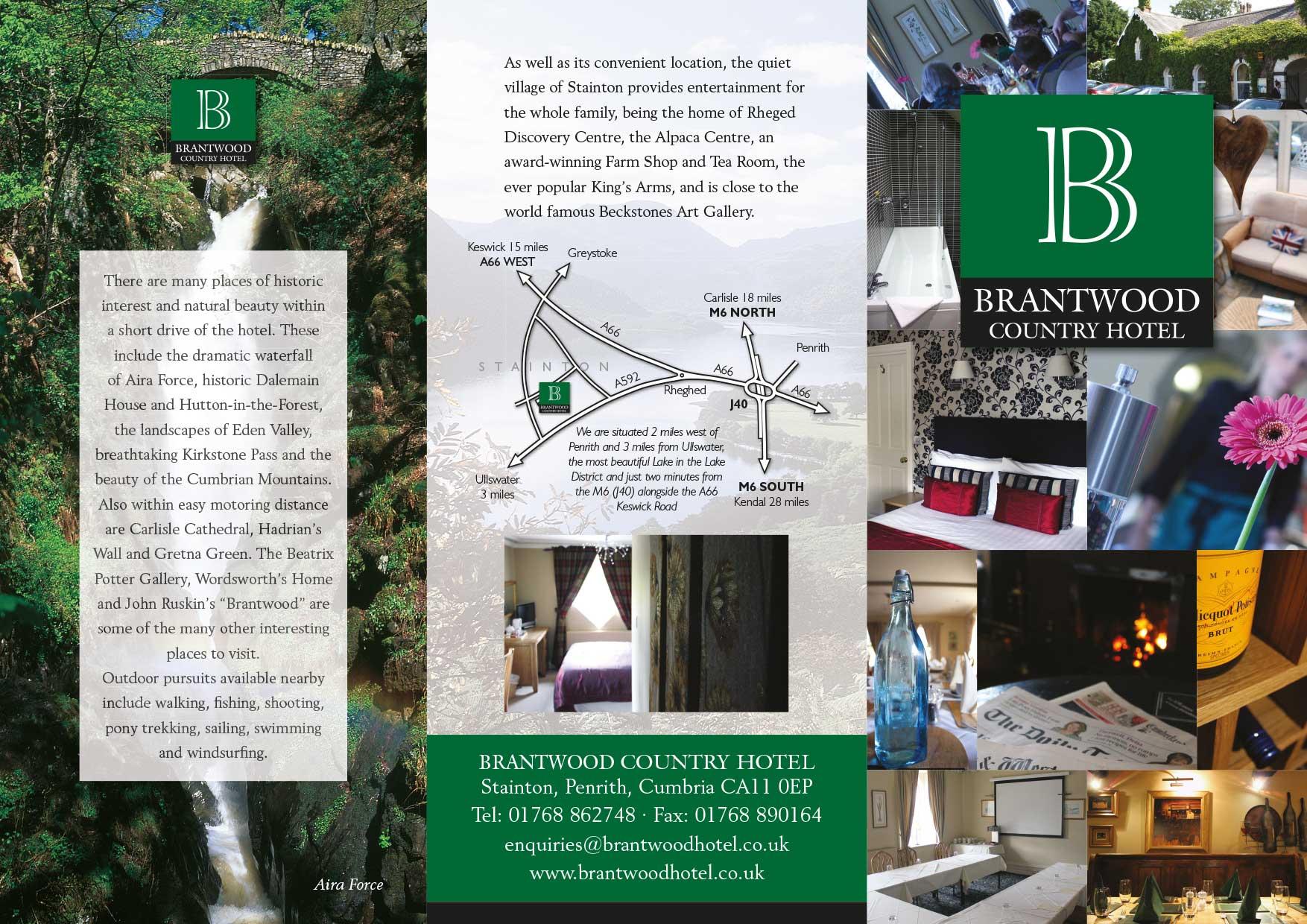 Leaflet design - Brantwood Hotel - front side