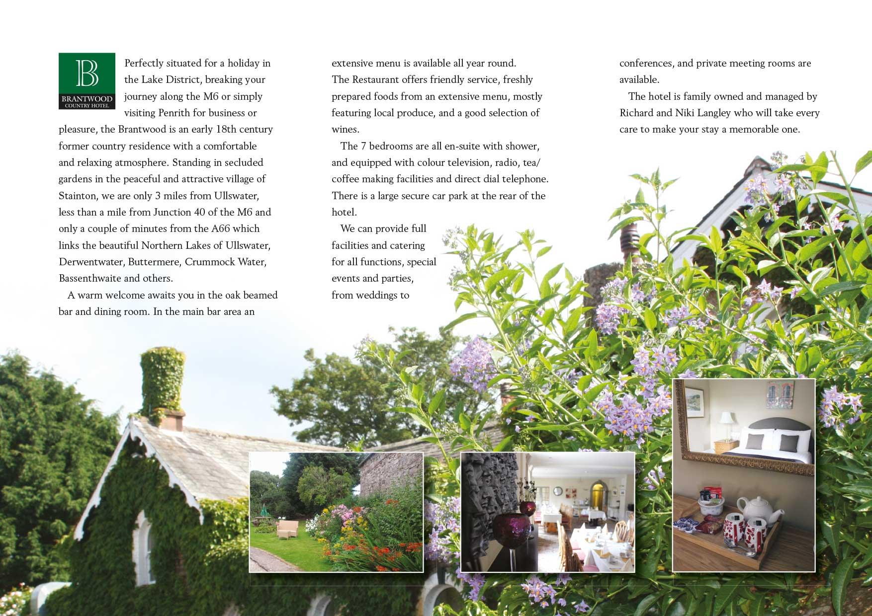 Leaflet design - Brantwood Hotel - inside spread