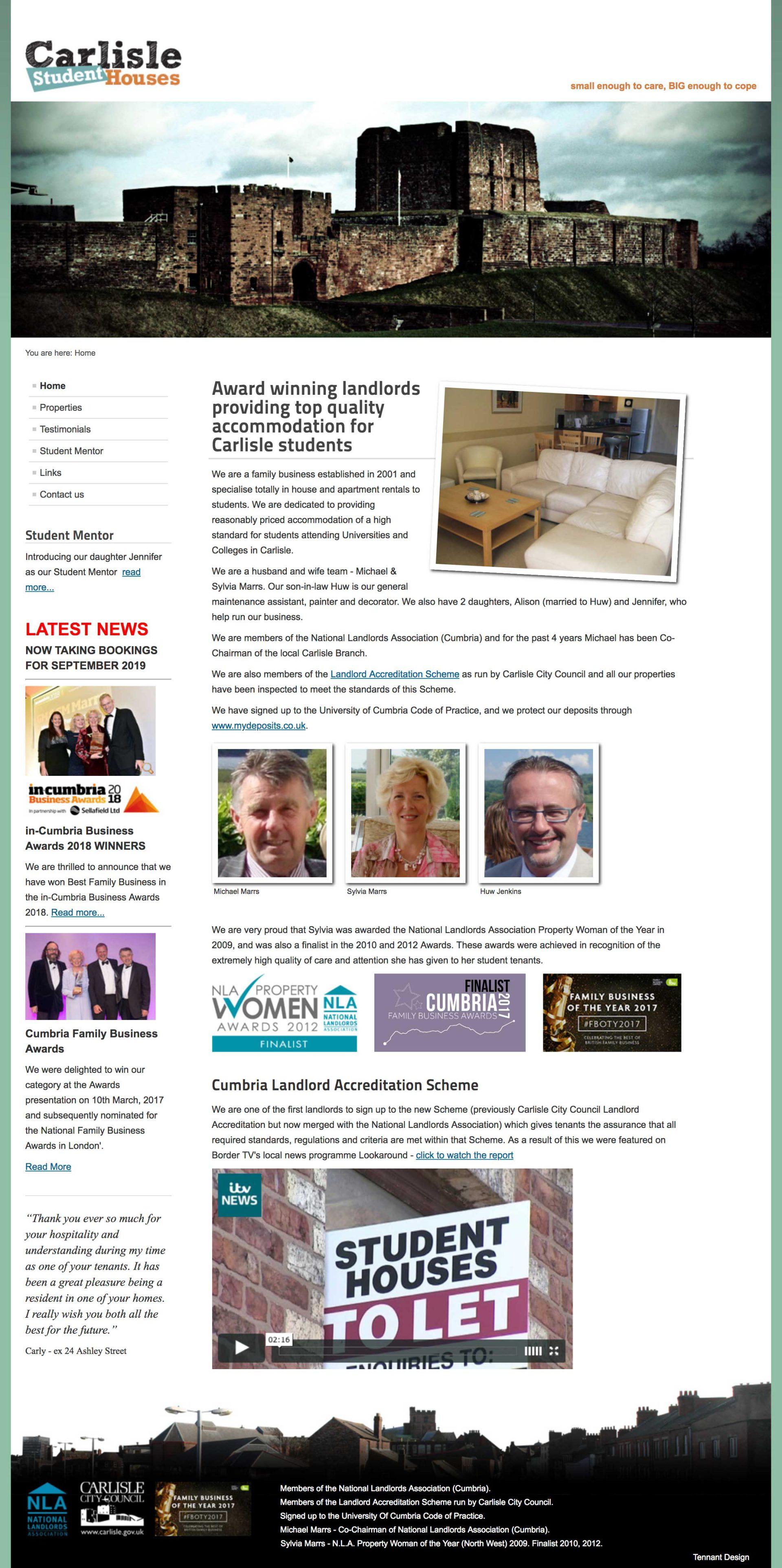 website design - carlisle student houses