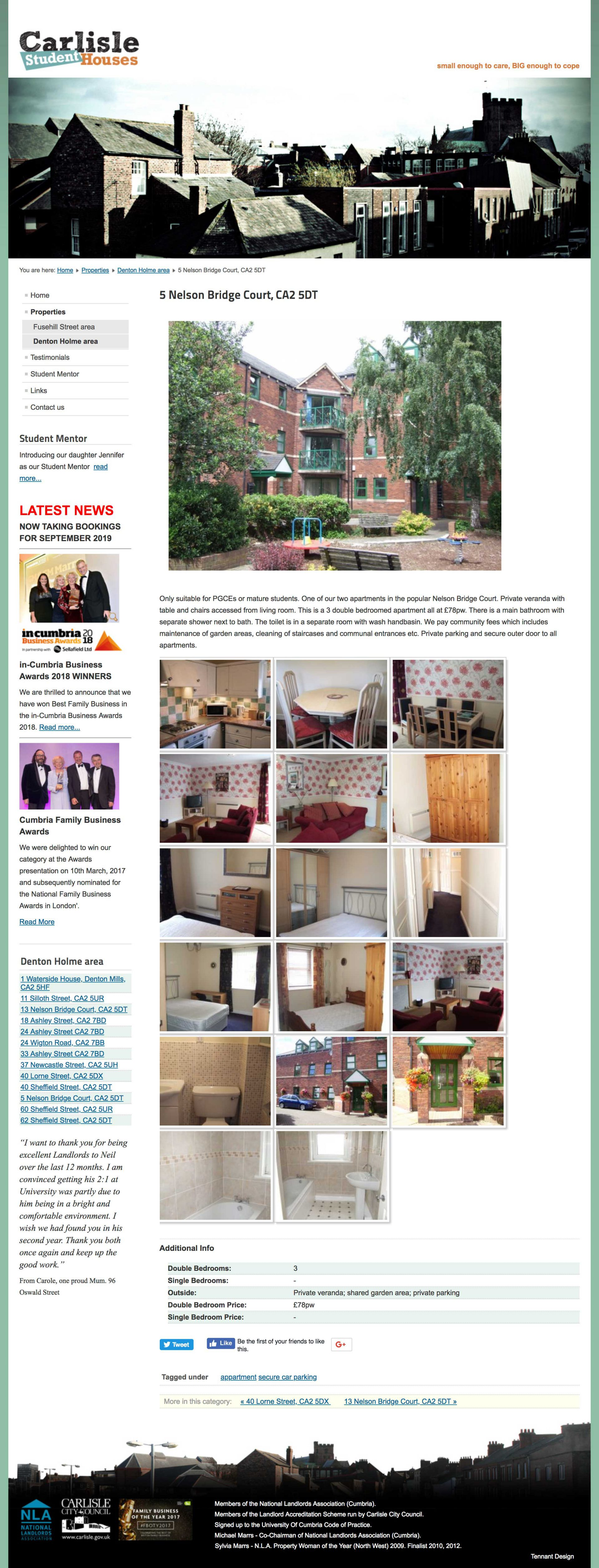 website design - carlisle student houses - item