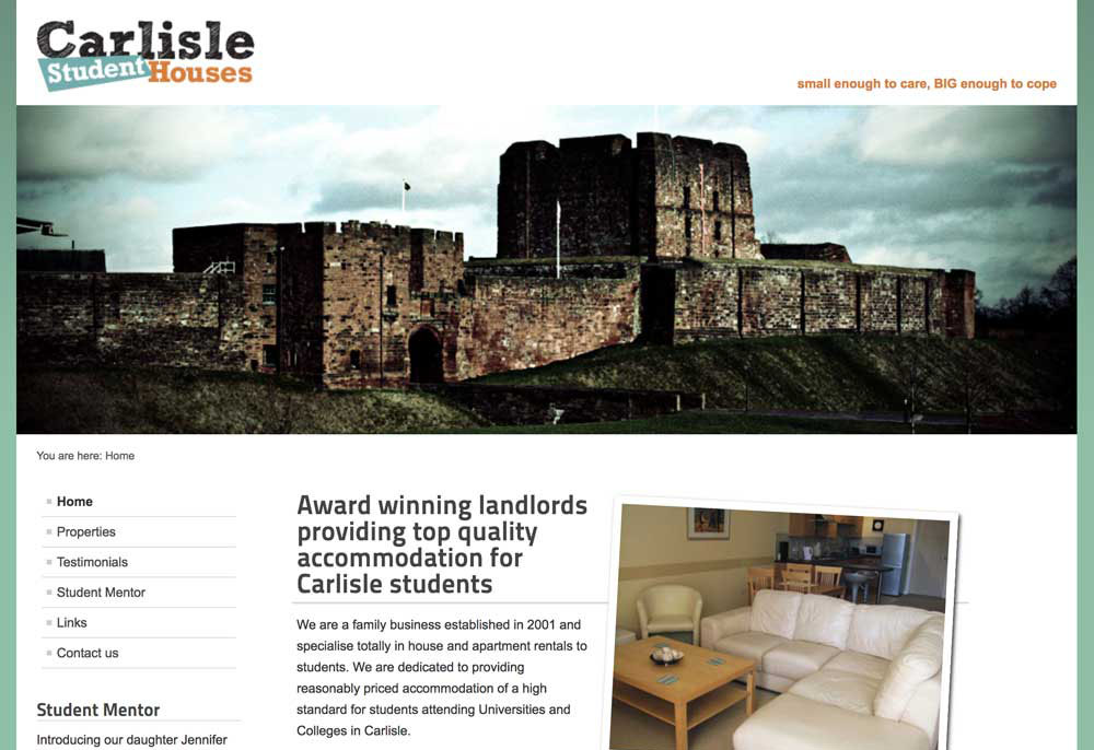 website design - Carlisle Student Houses