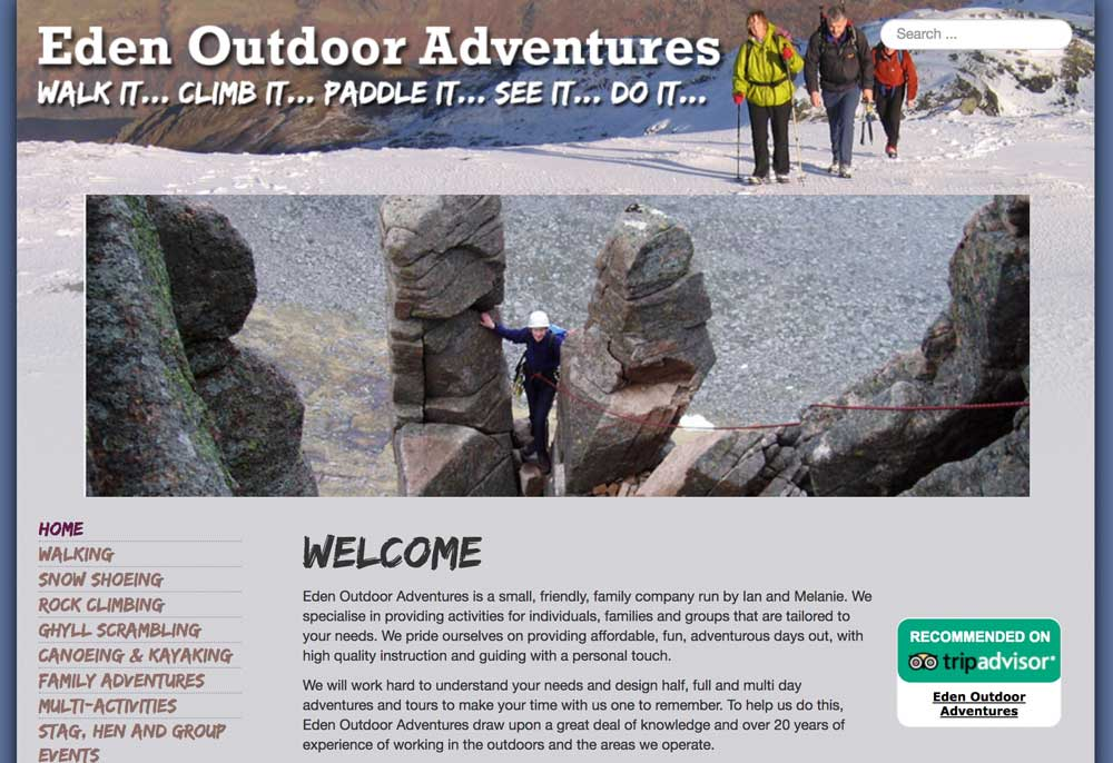 website design Eden Outdoor Adventures