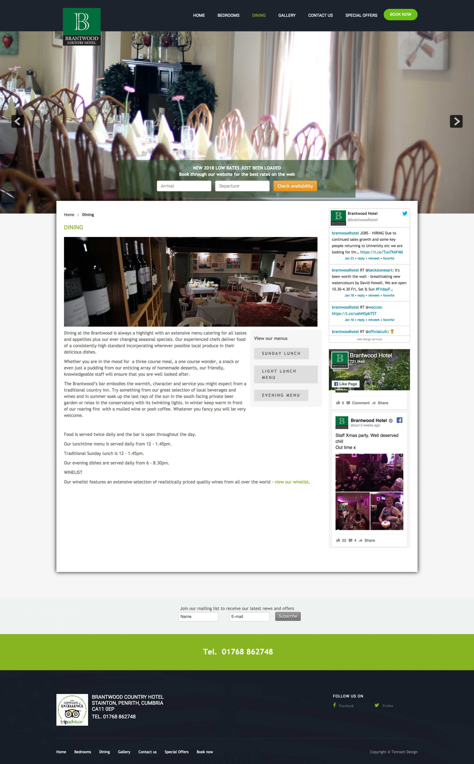 website design - The Brantwood Hotel, dining