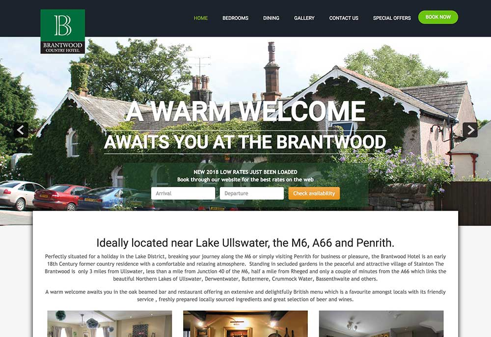 website design - The Brantwood Hotel