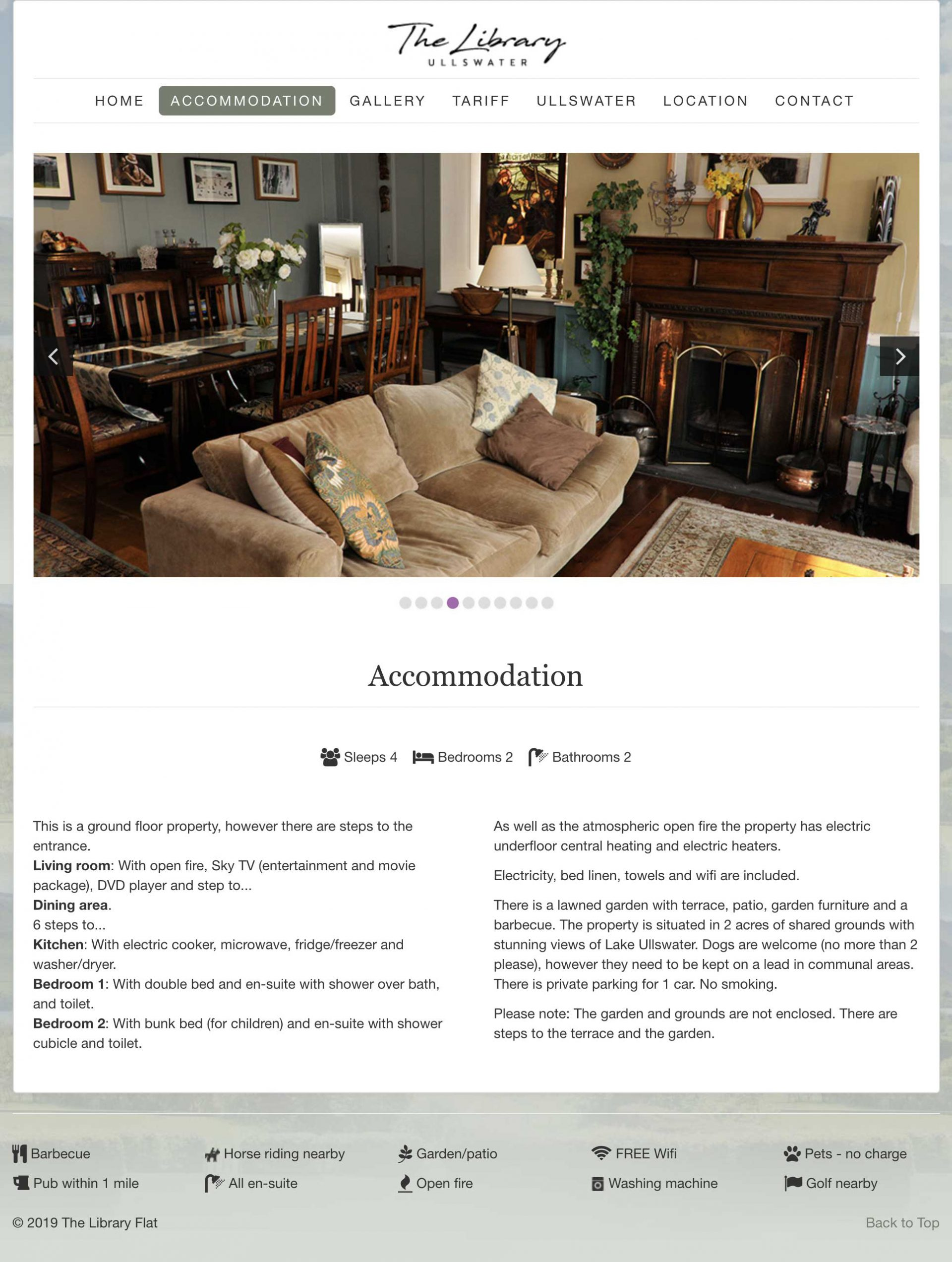 website design - The Library, accommodation
