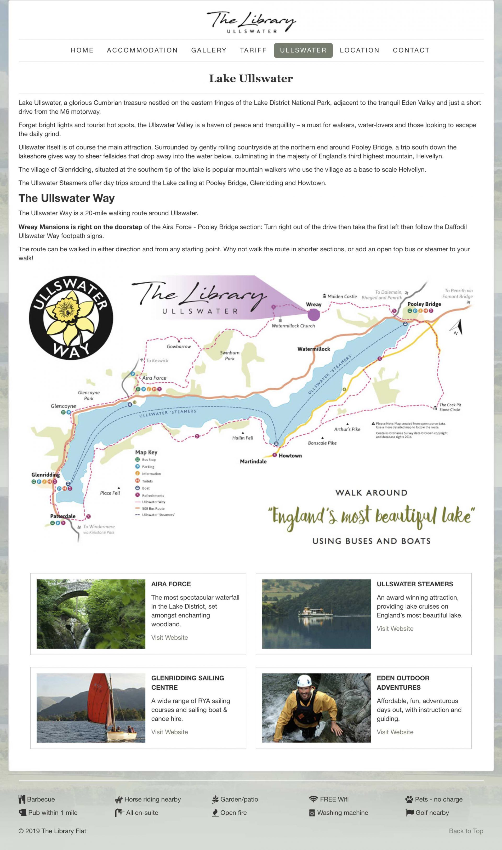 website design - The Library, Ullswater